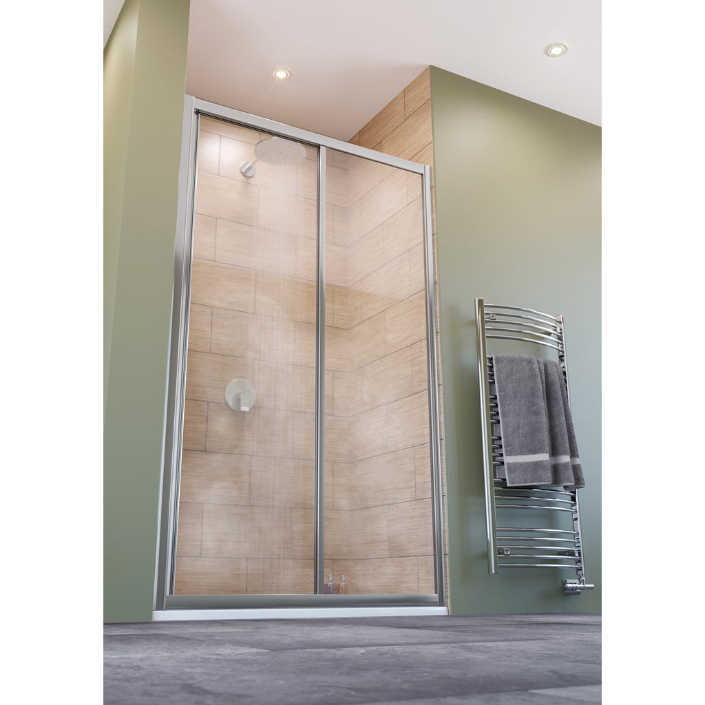 Lakes Classic 1100 x 1850mm White Framed Sliding Shower Door