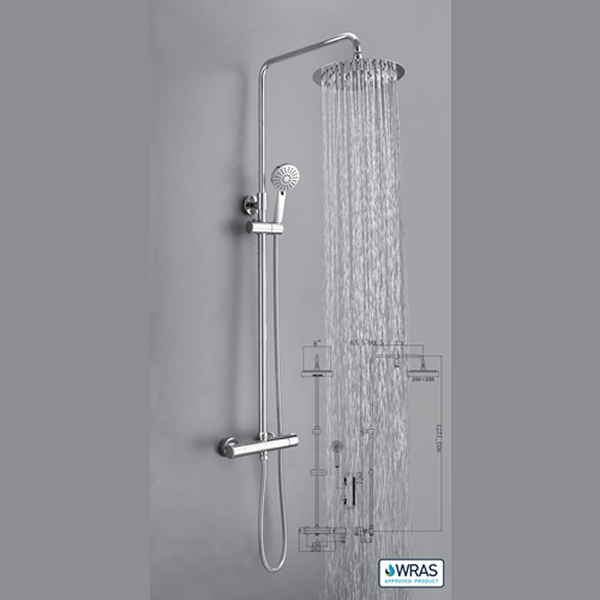 Round Thermostatic Shower Valve with Adjustable Rigid Riser - 029.38.002