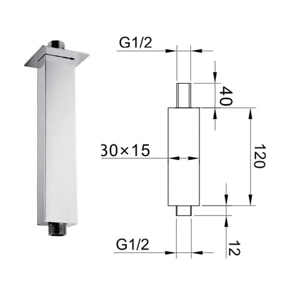 120mm Rectangular Ceiling Shower Arm - 029.50.004