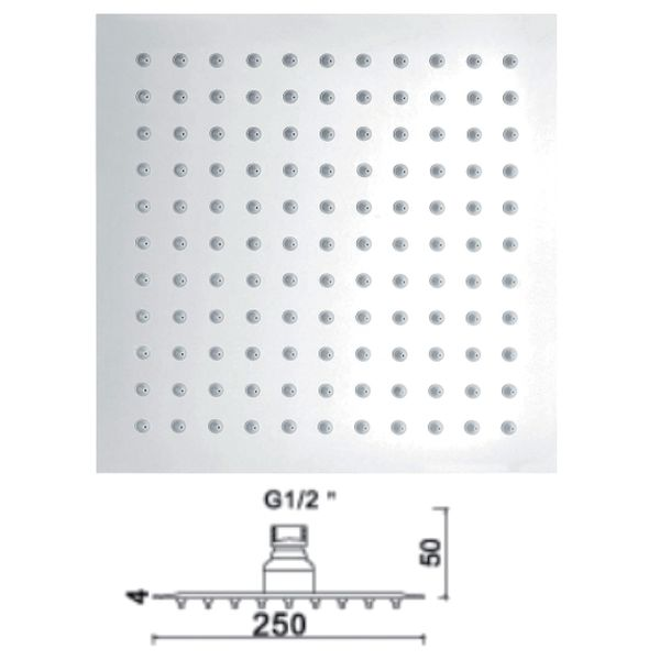 250mm Ultra Slim Square Shower Head - 029.48.005