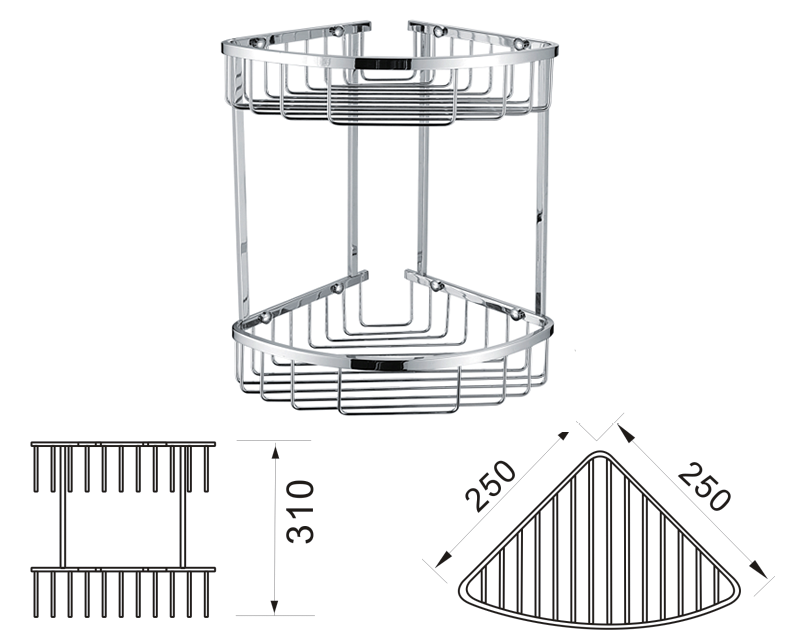 Double Corner Shower Basket - CB26