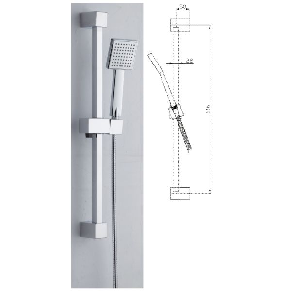 Square Slider Rail Kit Stainless Steel - 029.46.002