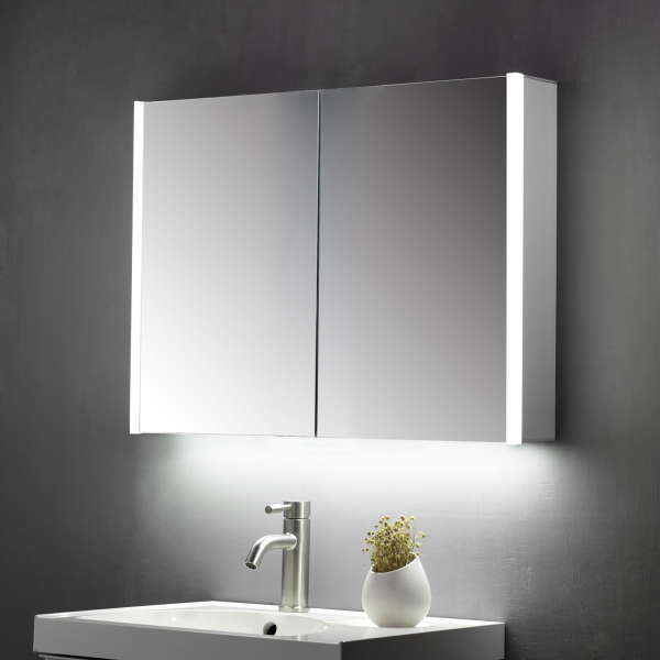 Beau Double Door Mirror Cabinet LED Side Strips c/w Sensor Switch & Shaver Socket - 600x700mm - TIS3102