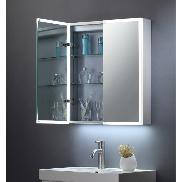 Bethany Double Door Mirror Cabinet LED Surround c/w Sensor Switch & Shave Socket - 600x700mm - TIS3104