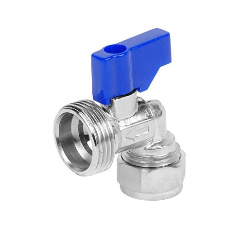 15mm CP Angled Washing Machine Valve with Blue Handle - 048.113.006