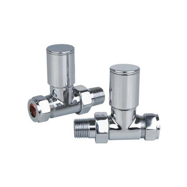 Portland Straight Radiator Valves Chrome - PORTLAND/REI