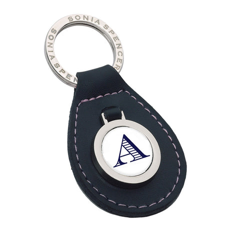 Navy Leather Initial Keyring