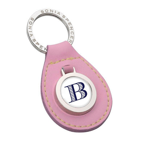 Pink Leather Initial Keyring