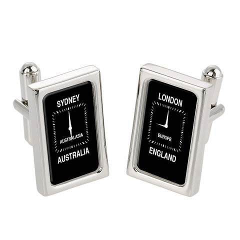 London - Sydney Time Zone Cufflinks