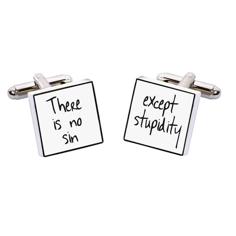 Oscar Wilde Cufflinks - There is no Sin Except Stupidity