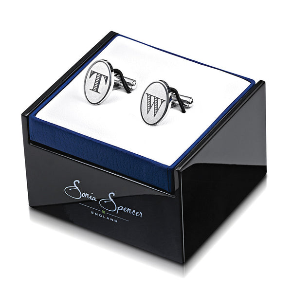 Oval Etched Initial Cufflinks with Box