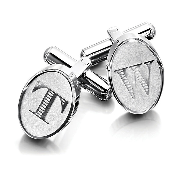 Oval Etched Initial Cufflinks
