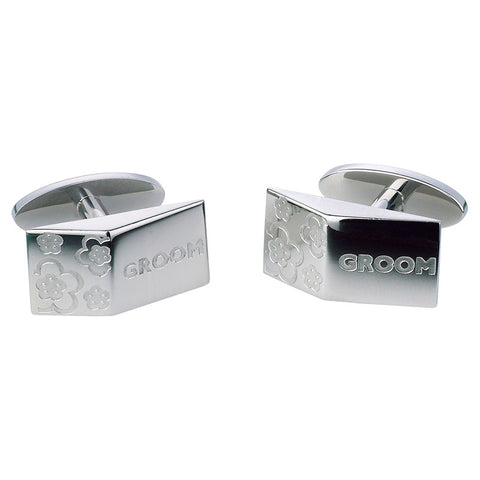 Groom Blossom Cufflinks - Etched Steel