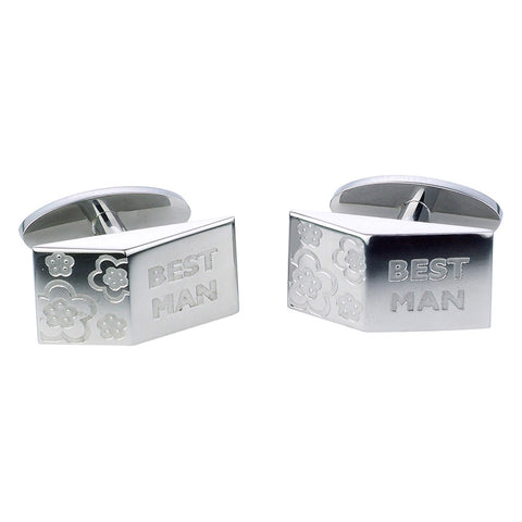 Best Man Blossom Cufflinks - Etched Steel
