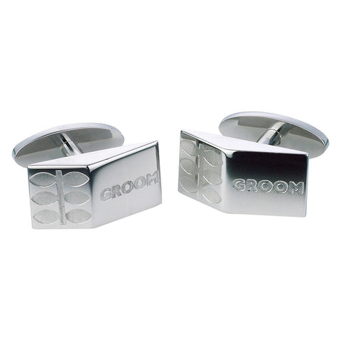 Groom Leaf Cufflinks - Etched Steel