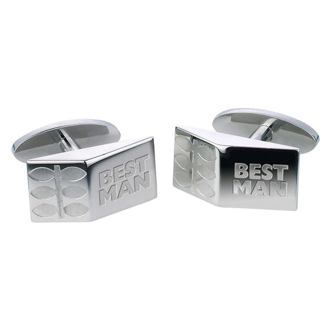 Best Man Leaf Cufflinks - Etched Steel