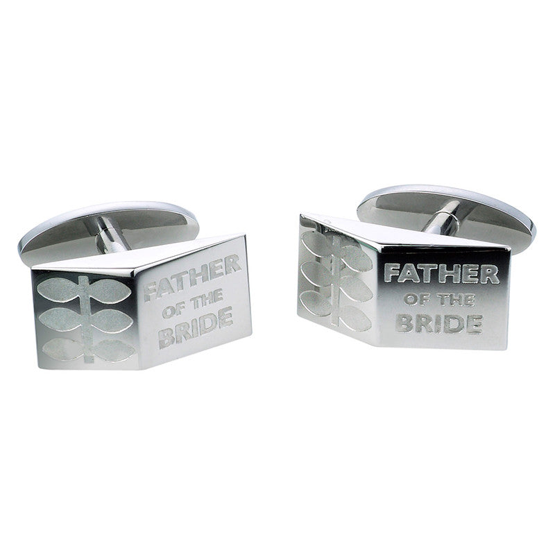Father of the Bride Leaf Cufflinks - Etched Steel