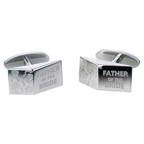 Father of the Bride Blossom Cufflinks - Etched Steel