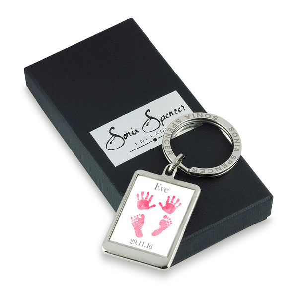 Baby Hands & Feet Personalised Keyring - Pink with Box