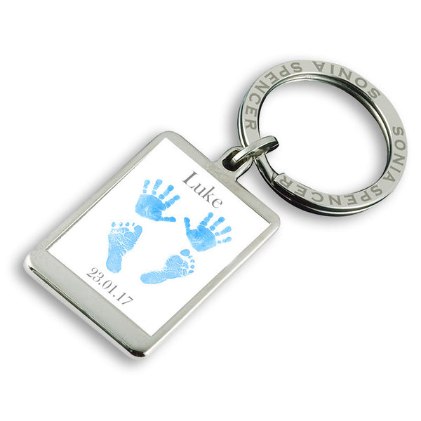 Baby Hands & Feet Personalised Keyring - Blue
