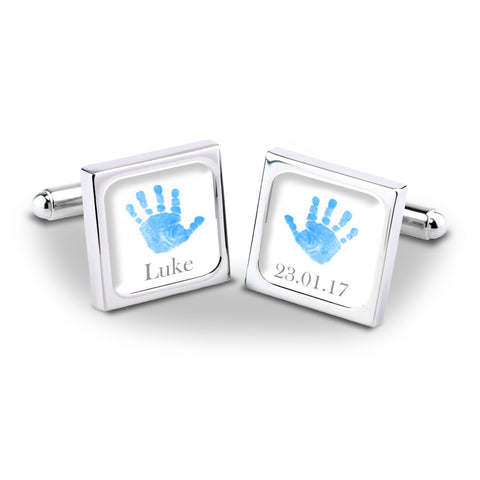 Blue Baby Hands & Feet Personalised Cufflinks