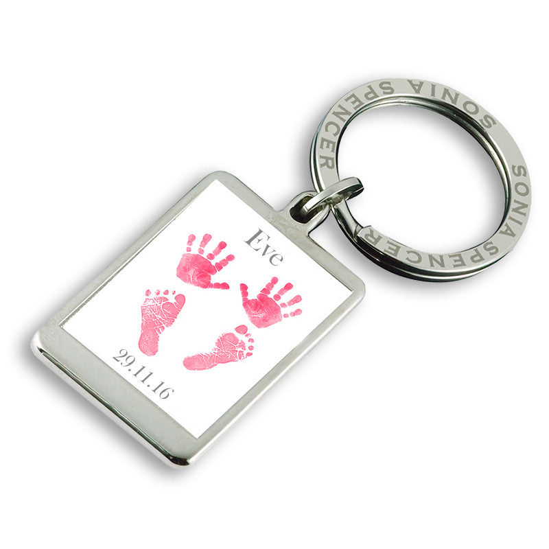 Baby Hands & Feet Personalised Keyring - Pink