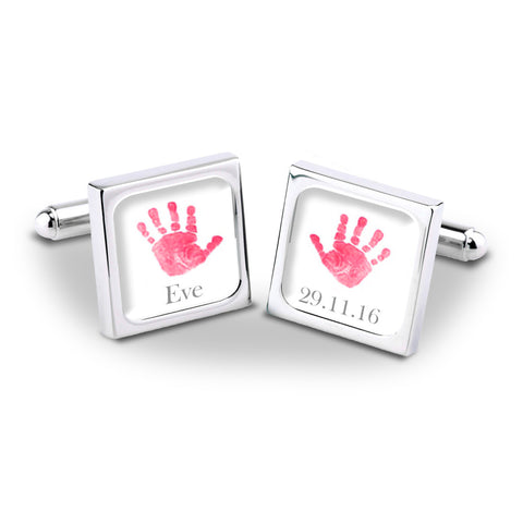 Pink Baby Hands Personalised Cufflinks