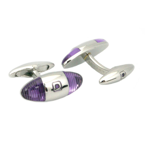 Violet Striped Baguette Cufflinks - Polished Steel