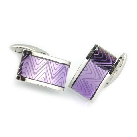 Violet Oblong ZigZag Cufflinks - Polished Steel