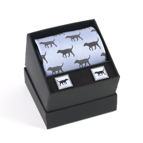 Black Lab Tie & Cufflink Set