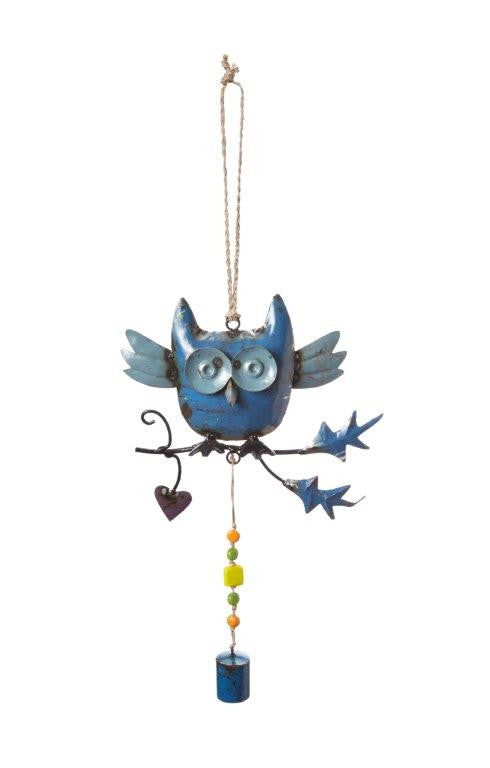 Recycled Metal Owl Wind Chime