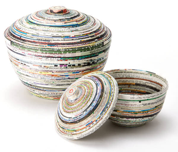 Recycled Paper Pots with Lids