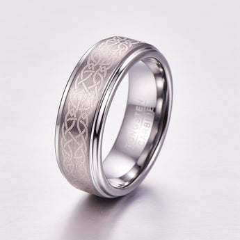Celtic Knot Brushed Tungsten Wedding Band Ring