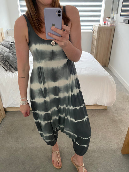 Harem Jumpsuit - Charcoal Stripe Tie Dye - Village Boutique