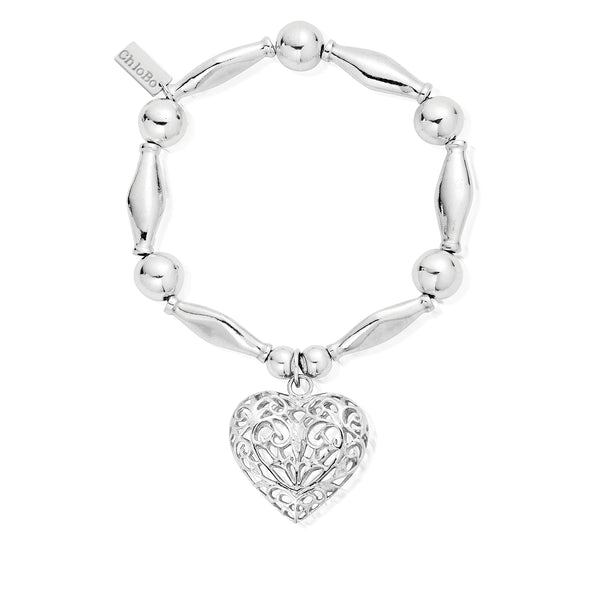 ChloBo Chunky Filigree Heart Bracelet SBCHU052 - Village Boutique