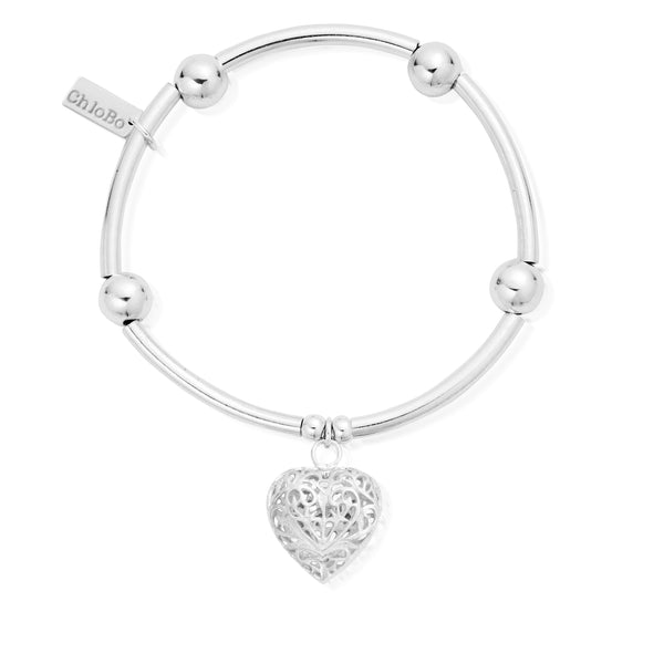 ChloBo Noodle Ball Filigree Heart Bracelet SBNB050 - Village Boutique