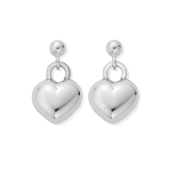 ChloBo Drop Puffed Heart Earrings SEDR155 - Village Boutique