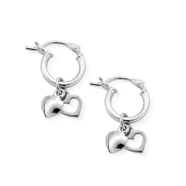 ChloBo Double Heart Small Hoop Earrings SEH040 - Village Boutique