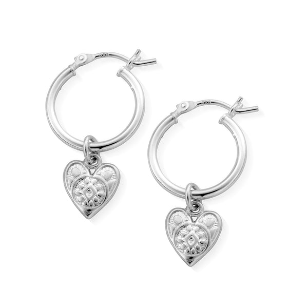 ChloBo Patterned Heart Hoop Earrings SEH691 - Village Boutique