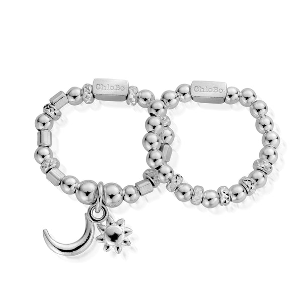 ChloBo Set Of Two Moon & Sun Ring SR582 - Village Boutique