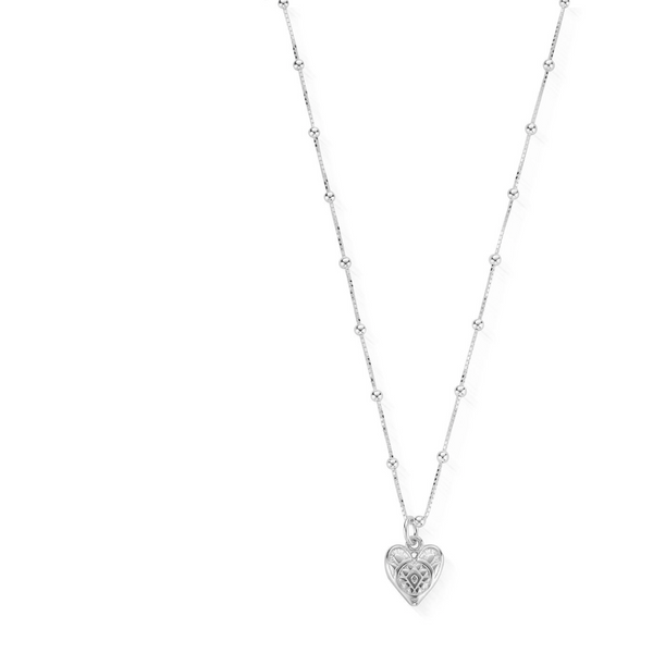 ChloBo Silver Newbie Necklace Patterned Heart SNBB691 - Village Boutique