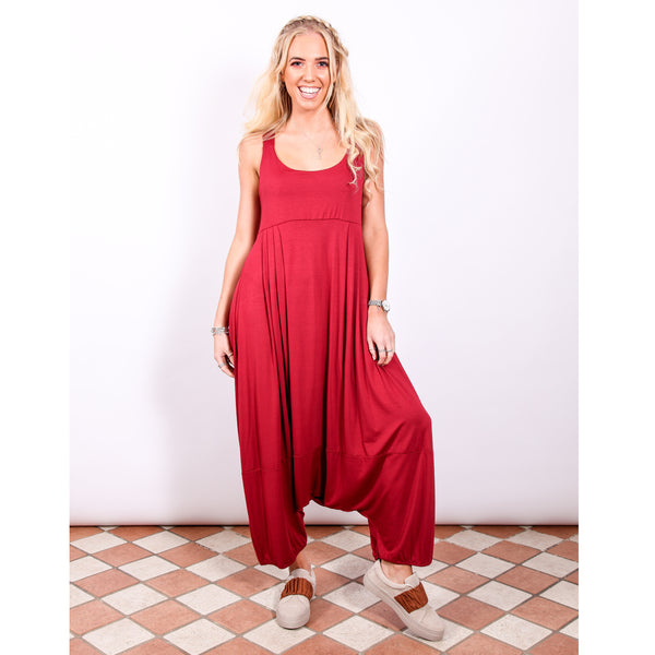 Harem Jumpsuit - Burgundy - Village Boutique