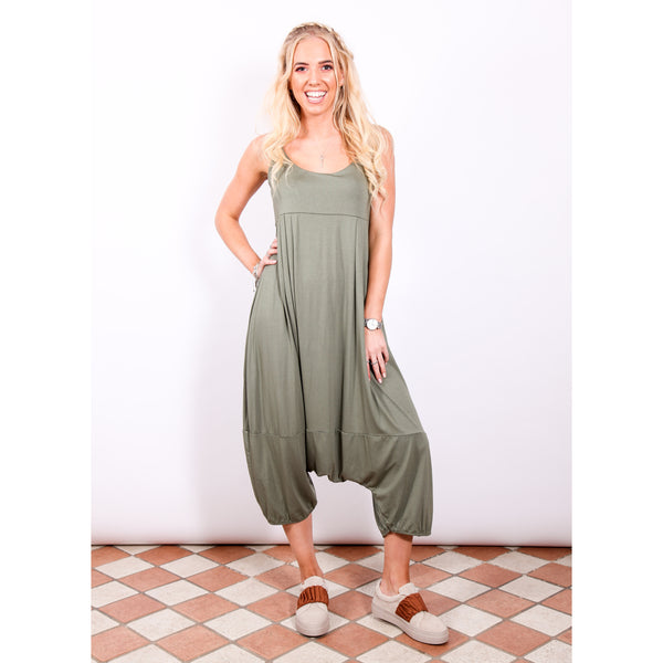 Harem Jumpsuit - Khaki - Village Boutique