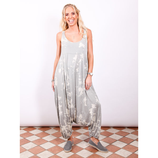 Harem Jumpsuit - Light Grey Tie Dye - Village Boutique