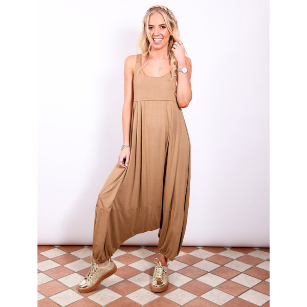 Harem Jumpsuit - Tan - Village Boutique