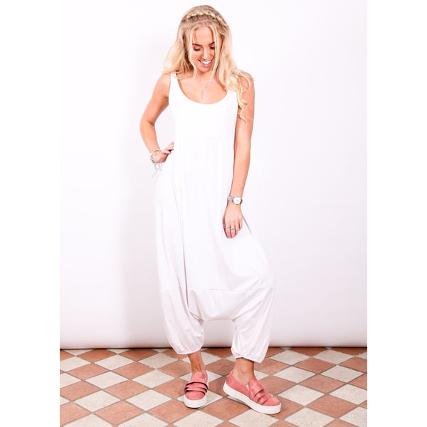 Harem Jumpsuit - White - Village Boutique