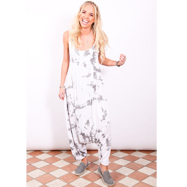 Harem Jumpsuit - White Tie Dye - Village Boutique