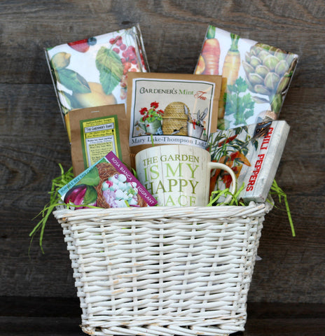 Easter basket ideas for adults papilio mt dora that special person who loves being in the garden garden inspired flour sack towels gardens hand soap gardners mint tea hudson heirloom seeds negle Images