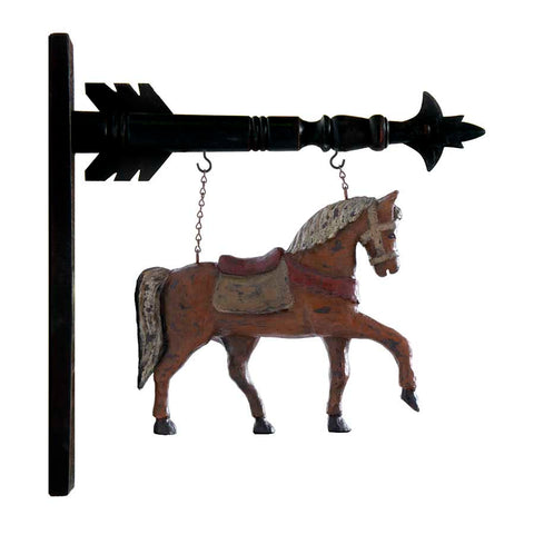 Hanging Sign - Brown Resin Horse w/ Saddle