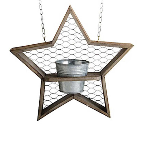 Hanging Sign - Wooden Star with tin pot planter